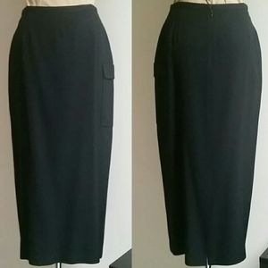 Wool Gabardine Long Black Fitted Skirt M